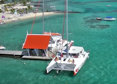 Ile aux cerf by catamaran from Trou d'Eau Douce