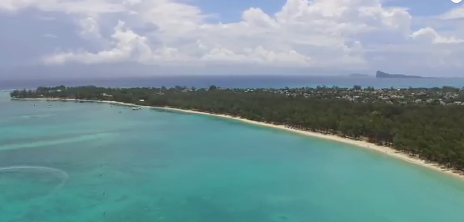 Aerial view of the long beach of Mon Choisy