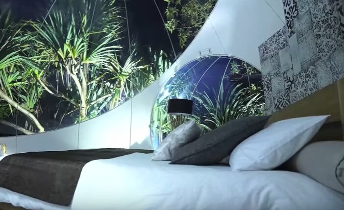Inside of the Bois Cheri Bubble Lodge in Mauritius