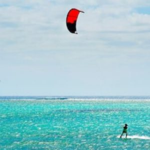 Learning the basics of kite surfing in Mauritius